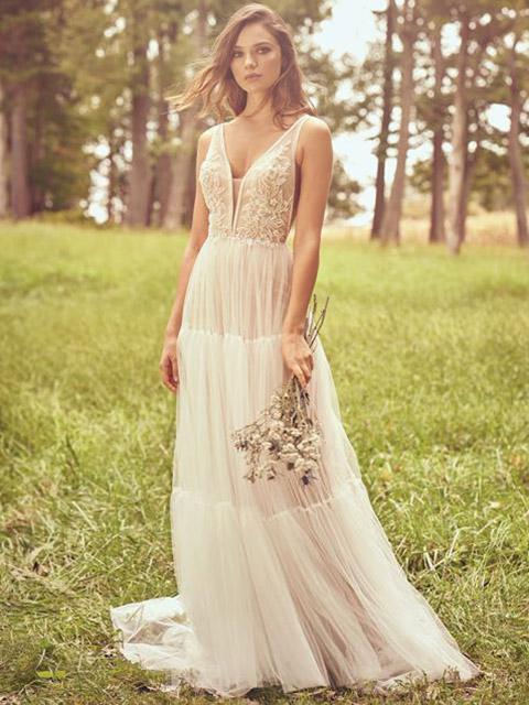 Boho wedding gown style